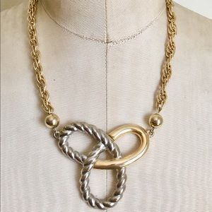 Vintage Nautical Knot Necklace Gold Silver